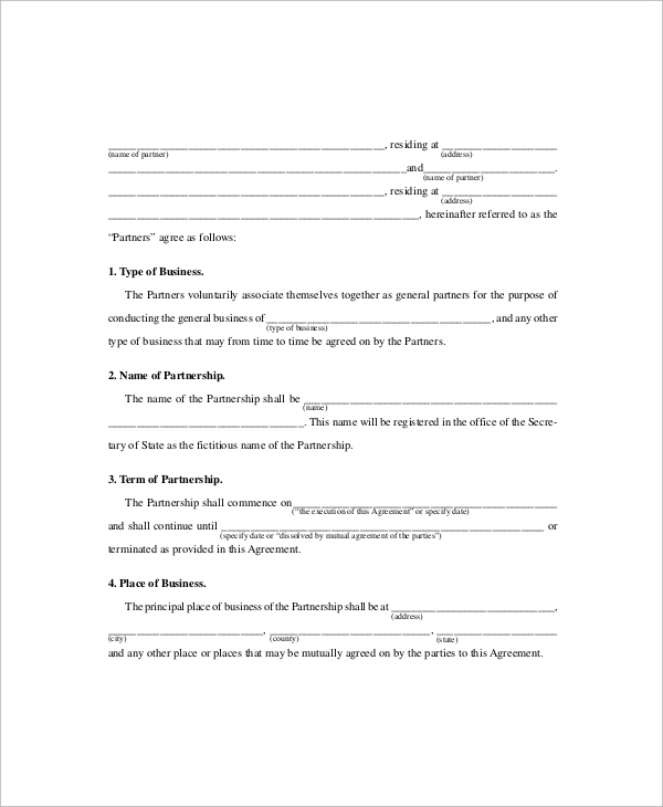 general business partnership agreement template