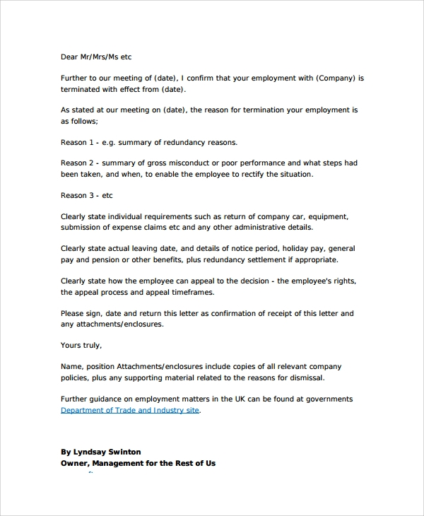 mutual will template - 8 sample employment termination letters sample templates