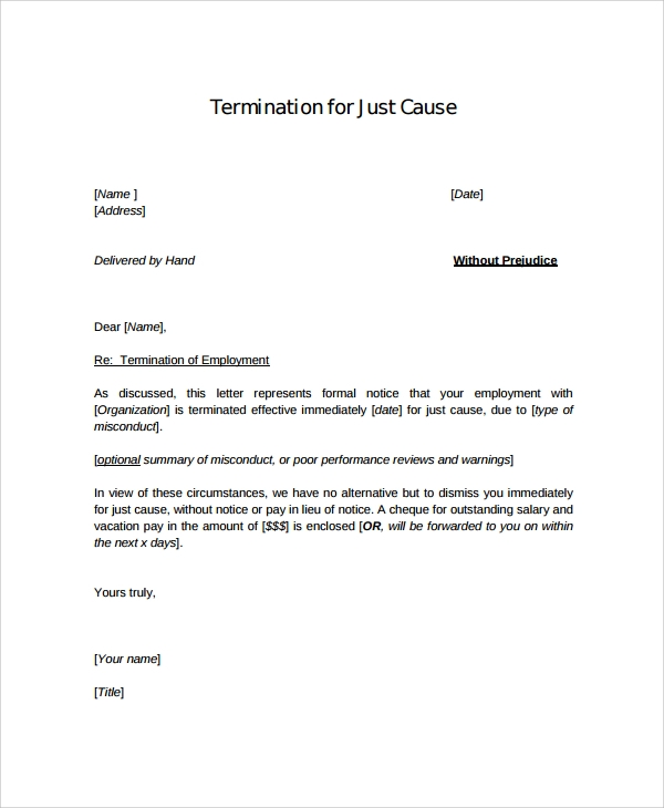 Formal Employment Termination Letter  Letter Of Termination Of Employment Template