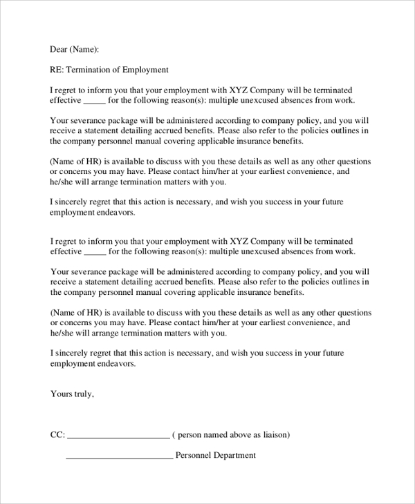 Sample Employment Termination Letter 7 Documents in PDF Word – Employment Termination Form Template