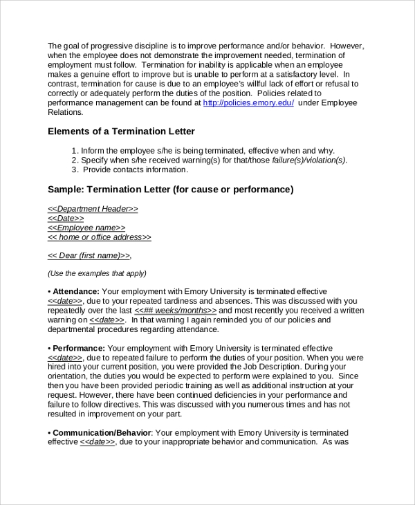 Sample Employment Termination Letter 7 Documents in PDF Word – Format for Termination Letter