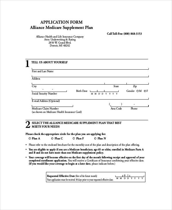 Sample Medicare Application Form   Documents In Pdf