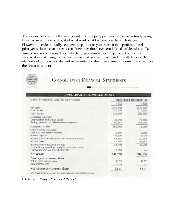 sample income statements