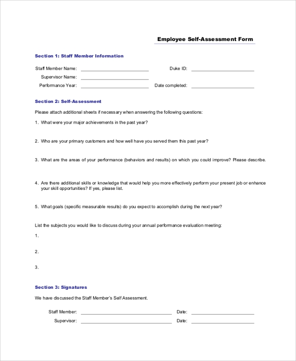 Sample Self Assessment Form