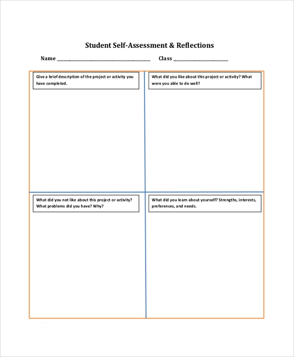 9 sample self assessment forms sample templates for Student self evaluation templates