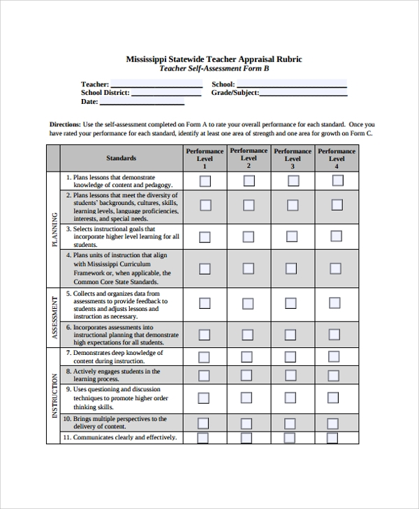 teacher self assessment form