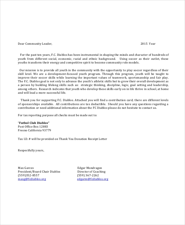 Soccer Sponsorship Request Letter