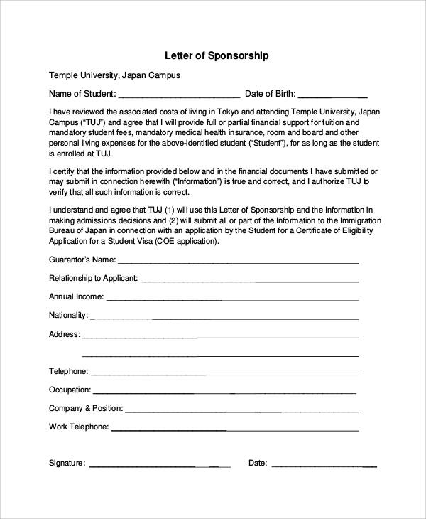 Sample Sponsorship Request Letter 6 Documents In PDF – Sample of a Sponsorship Letter