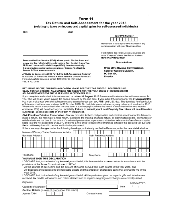 self assessment income tax form1