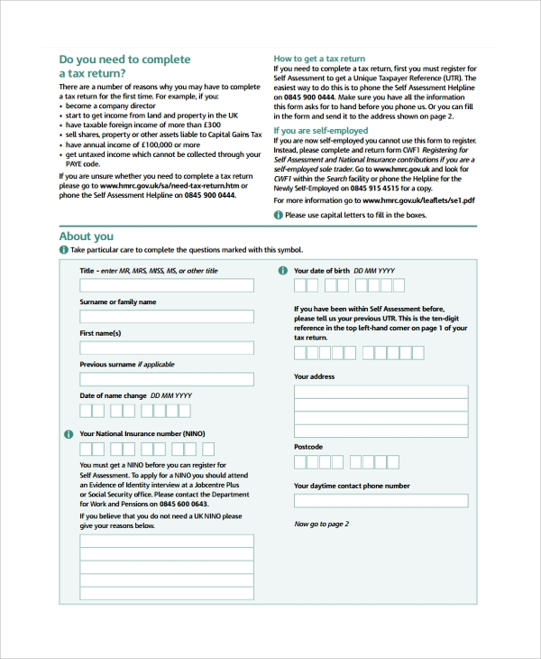self assessment tax return form