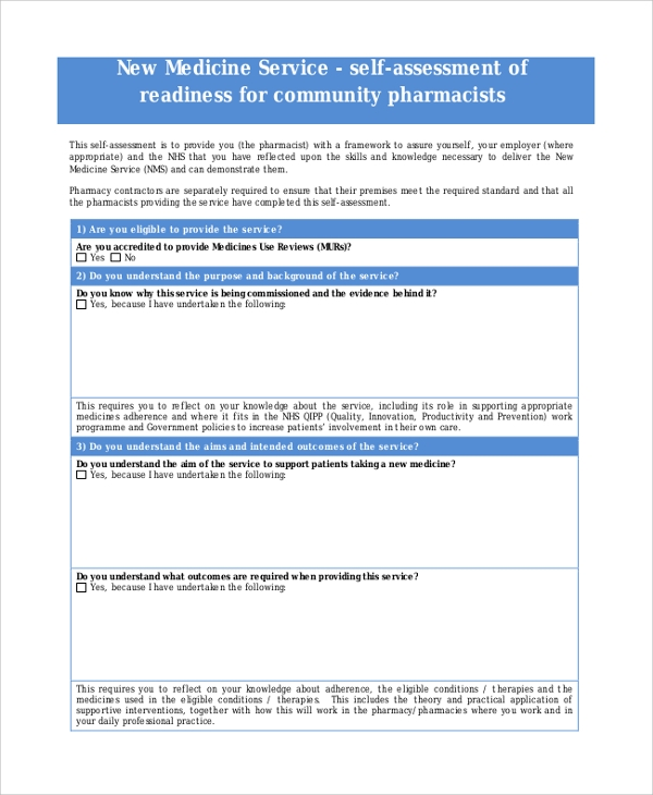 pharmacist self assessment form