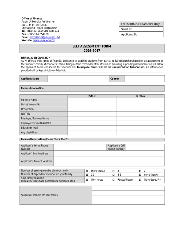 university women self assessment form