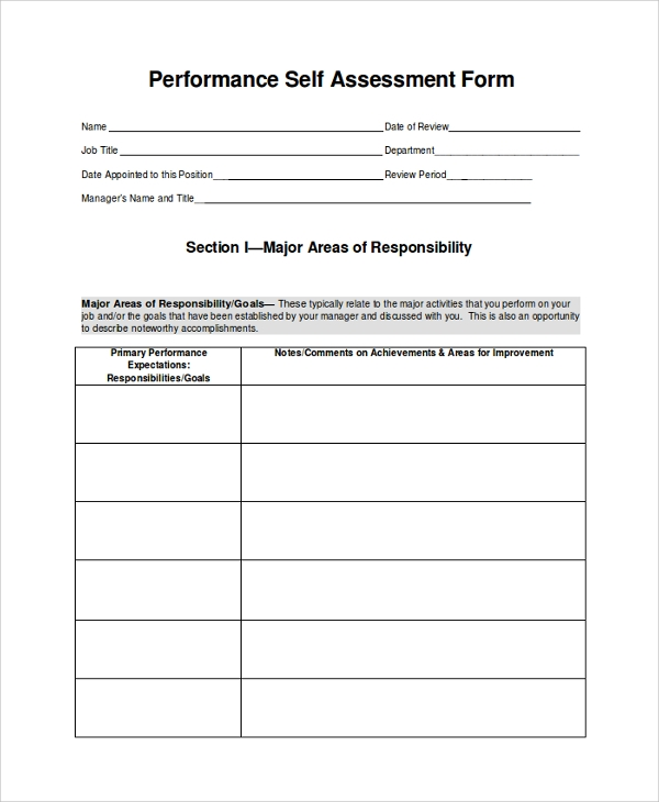 performance self assessment form