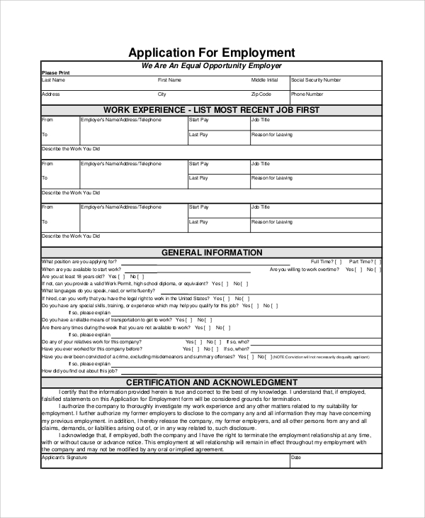 Sample Employment Application Form 7 Documents in PDF – Sample Employment Application Form