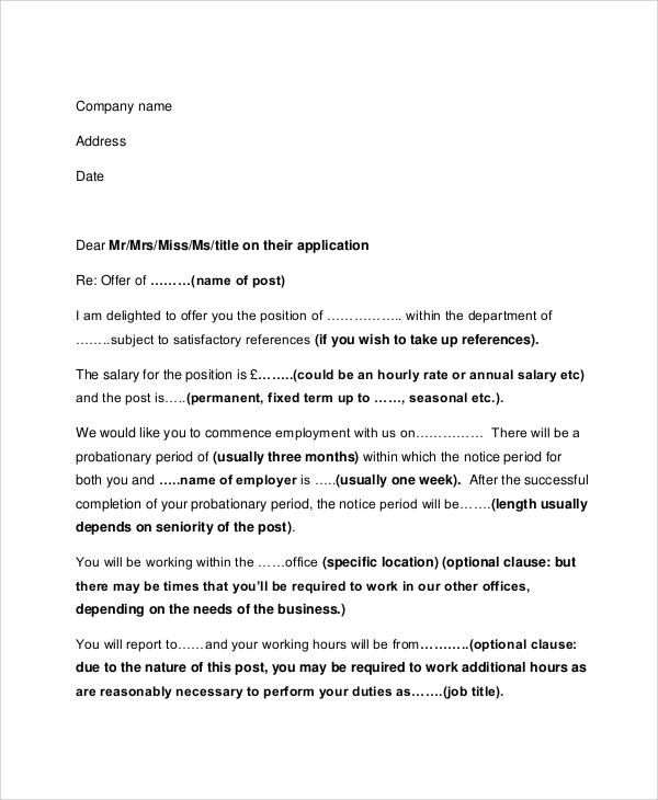 job offer letter sample employment offer letter 5 documents in pdf word 13353 | Job Employment Offer Letter