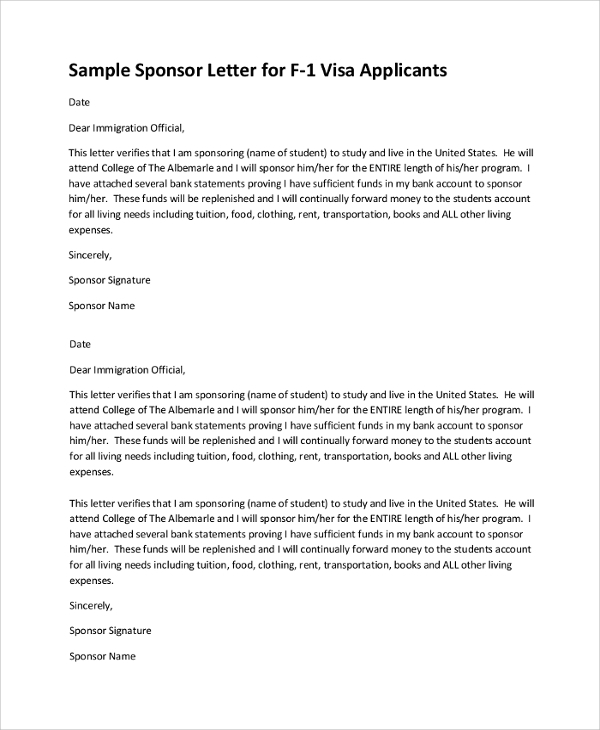 Sample Visa Sponsorship Letter 7 Documents in PDF Word – Format of a Sponsorship Letter