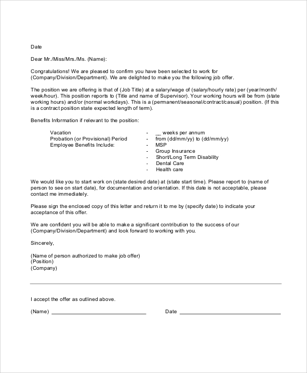 Sample Employment Offer Letter 5 Documents In Pdf Word .
