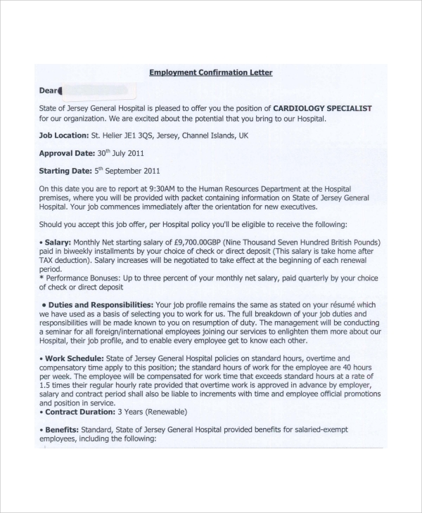 Sample Employment Offer Letter - 5+ Documents In PDF, Word