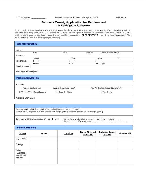 county employment application form