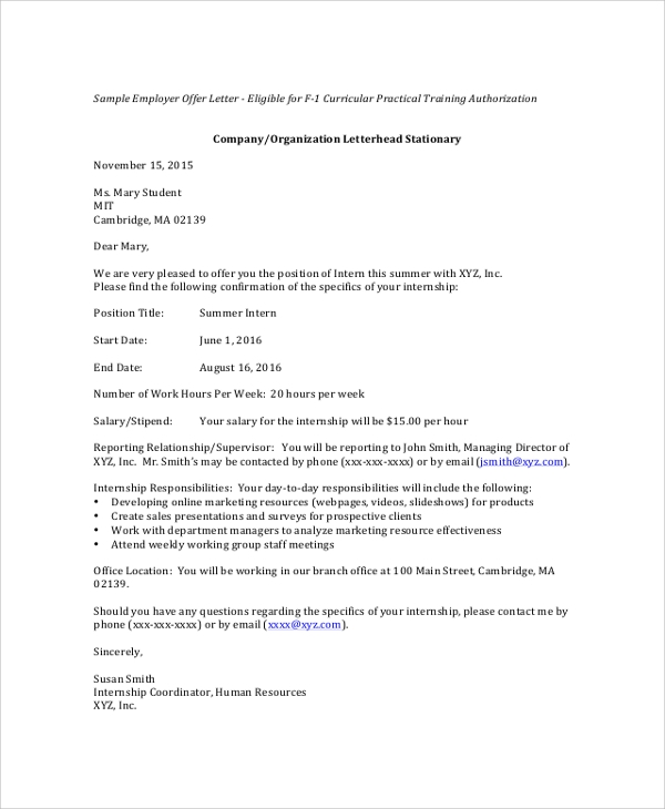summer internship offer letter sample