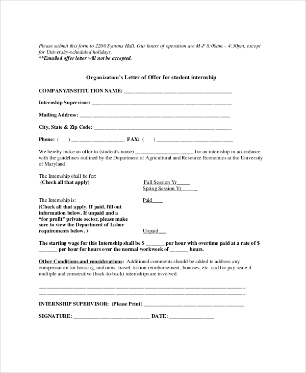 Sample Internship Offer Letter 7 Documents in PDF Word – Sample Offer Letters
