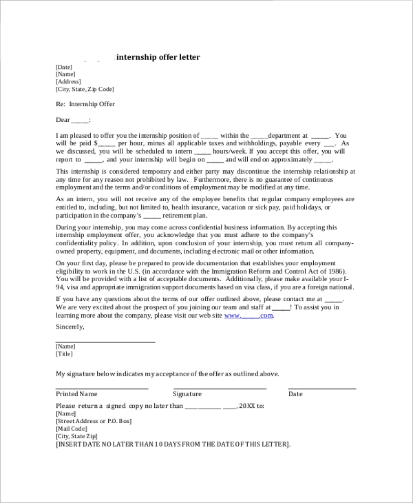 Free 10 Sample Internship Offer Letter Templates In Pdf Ms Word Pages Google Docs
