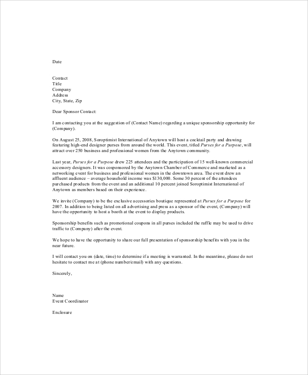 What are some things to include in a sponsorship request letter?