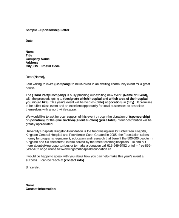 Sample Event Sponsorship Letter 5 Documents in PDF Word – Format of a Sponsorship Letter