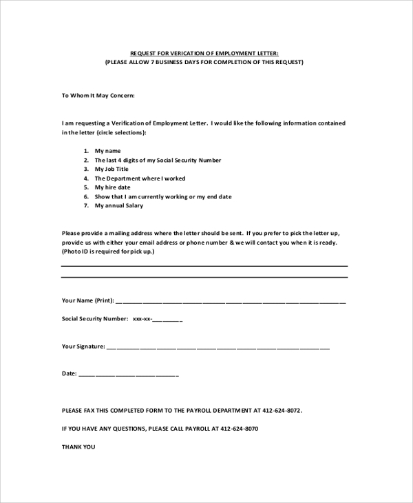 Sample Employment Verification Letter 7 Documents in PDF Word