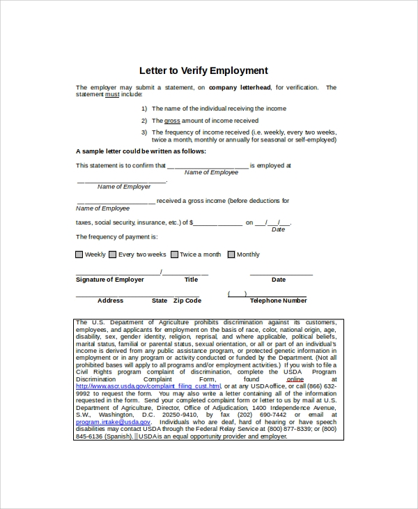 8+ Employment Verification Letter Templates | Sample Templates