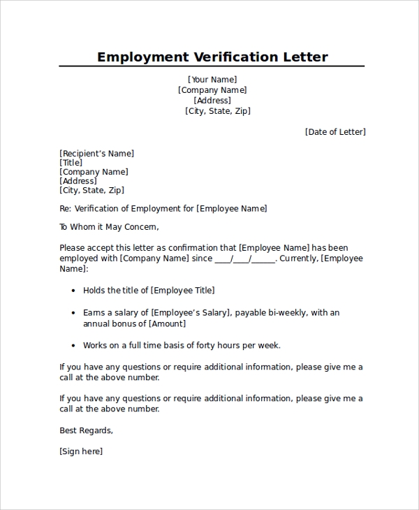 Sample Employment Verification Letter 7 Documents in PDF Word – Job Verification Letter