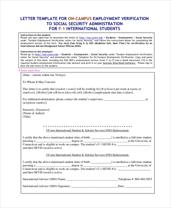 Sample Employment Verification Letter 7 Documents in PDF Word – Example Employment Verification Letter