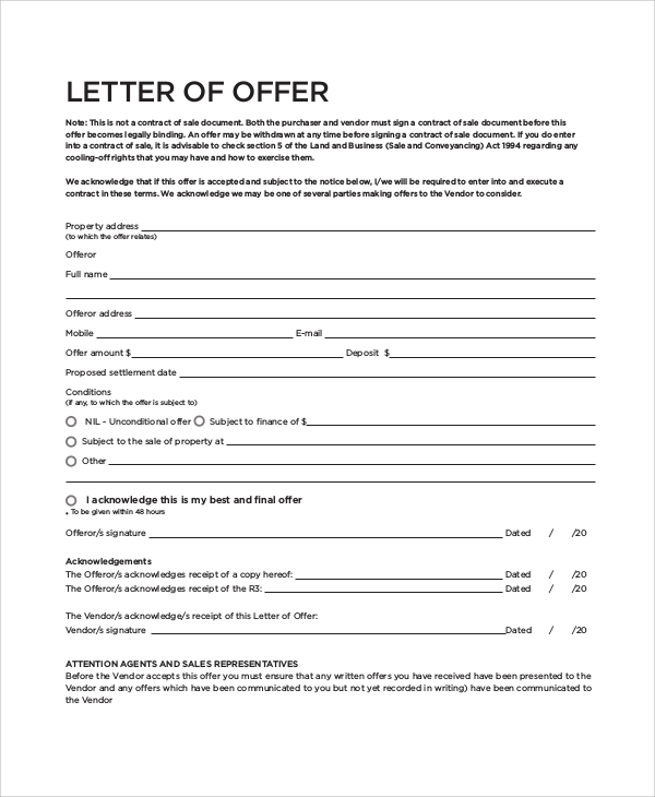 Sample Real Estate Offer Letter   Documents In Pdf Word