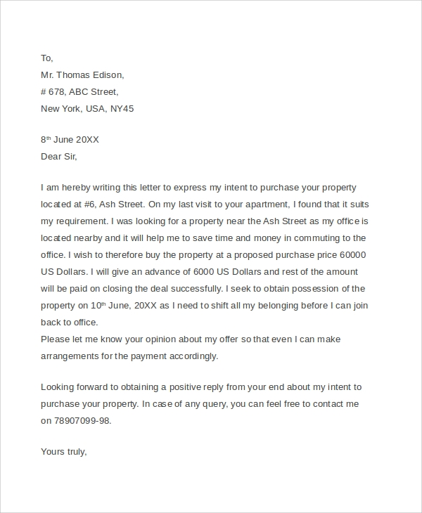 basic real estate offer letter