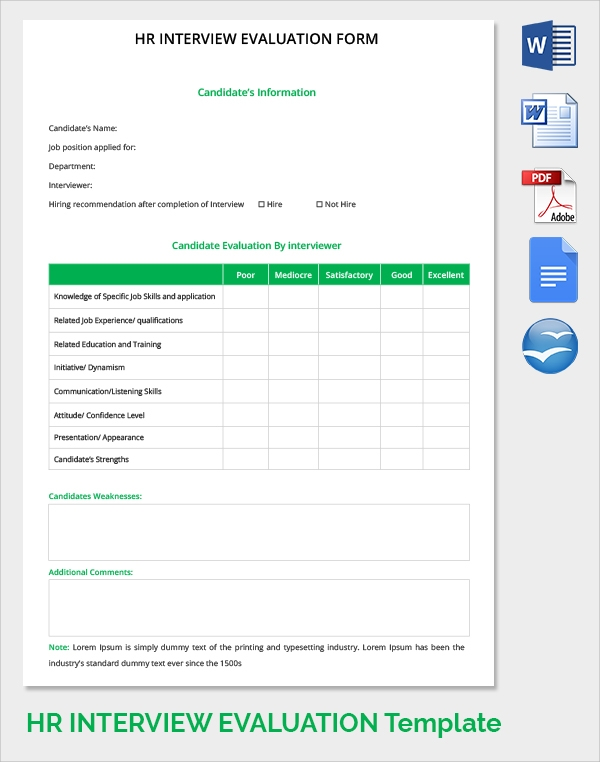 Hr Evaluation Form Hr Candidate Evaluation Form Hr Forms In