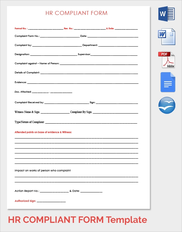sample hr complaint form