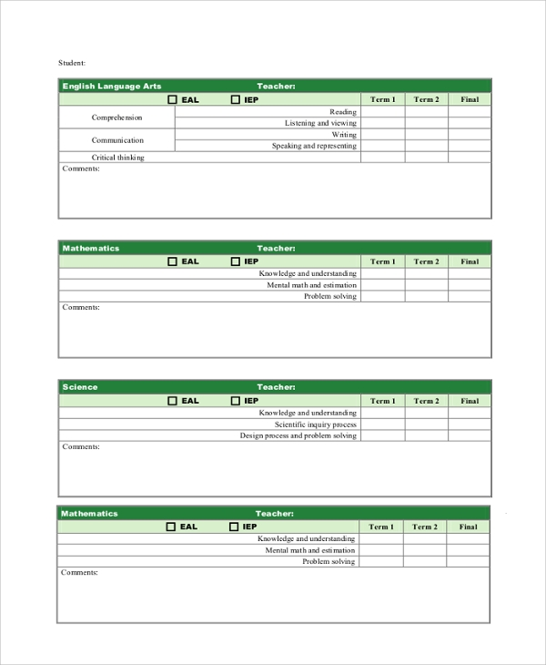 grade report card