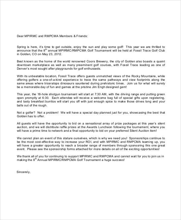 corporate golf sponsorship letter - Sample Planned Giving Letters