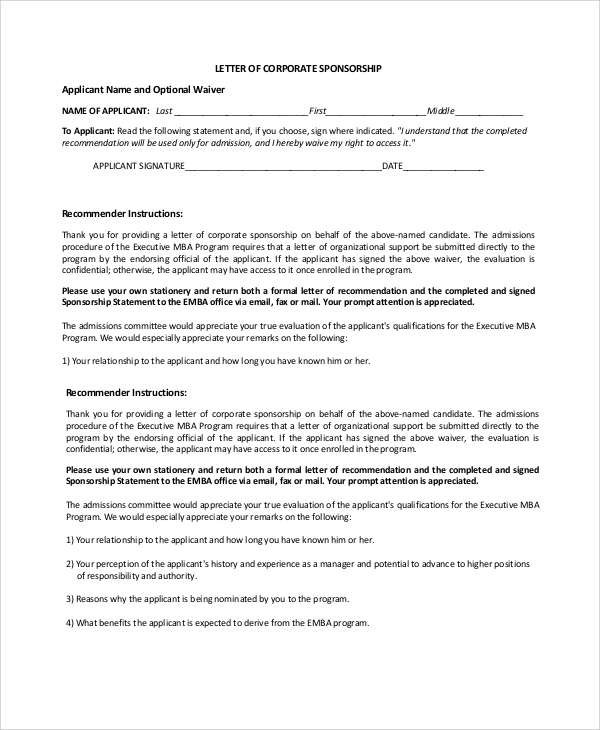 Sample Corporate Sponsorship Letter   Documents In Pdf Word
