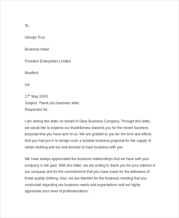 Sample Business Thank You Letter   Documents In Pdf Word