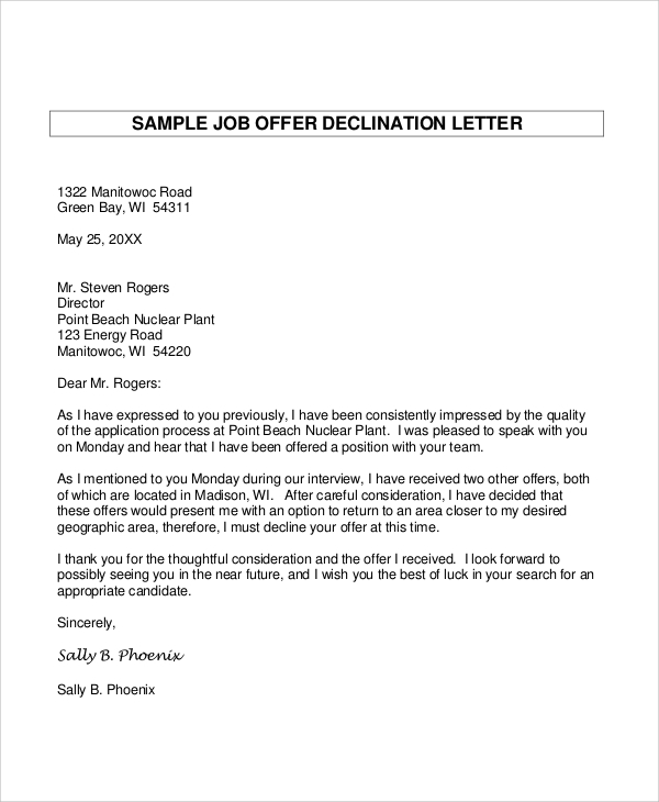decline a job interview sample letter sample decline offer letter 5 documents in pdf word 26861 | Sample Job Offer Declination Letter