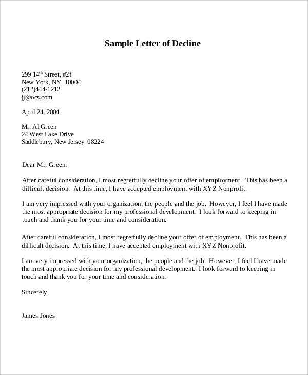 Sample Decline Offer Letter 5 Documents in PDF Word – Decline Offer Letter
