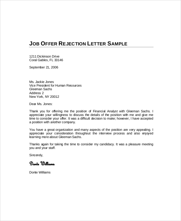 Sample Decline Offer Letter