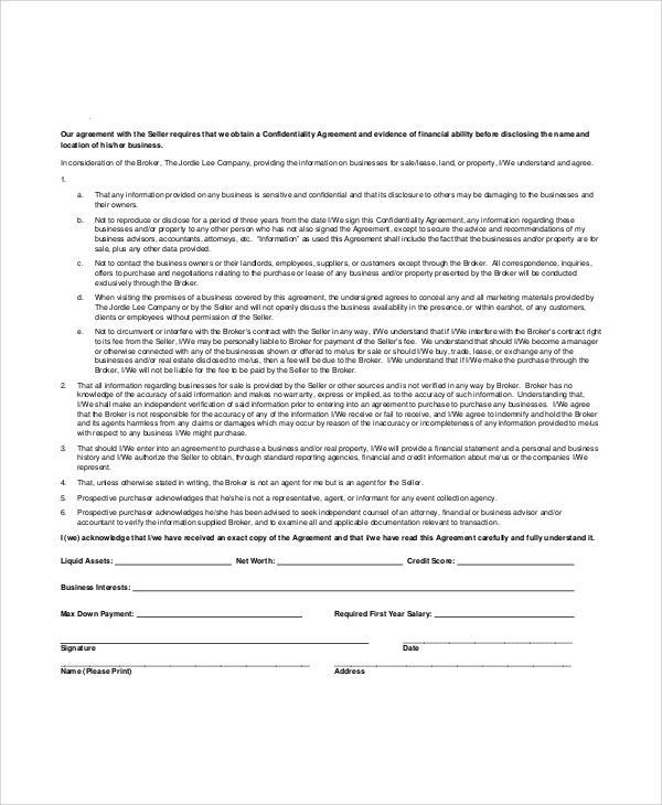 Sample Business Purchase Agreement 7 Documents In PDF Word – Financial Confidentiality Agreement