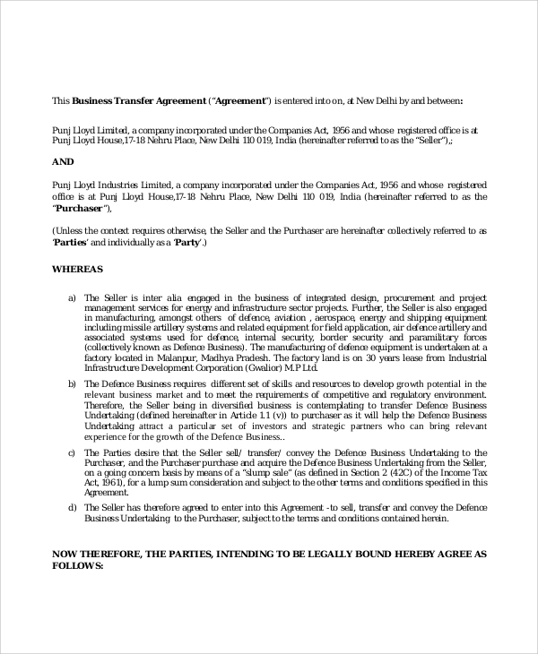Sample Business Purchase Agreement 7 Documents In PDF Word – Free Business Purchase Agreement