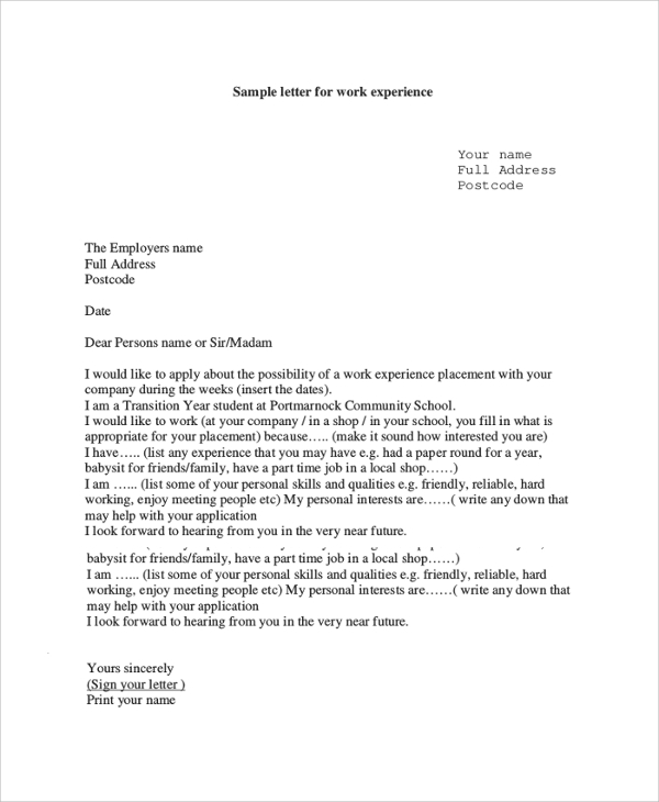 work experience reference letter template