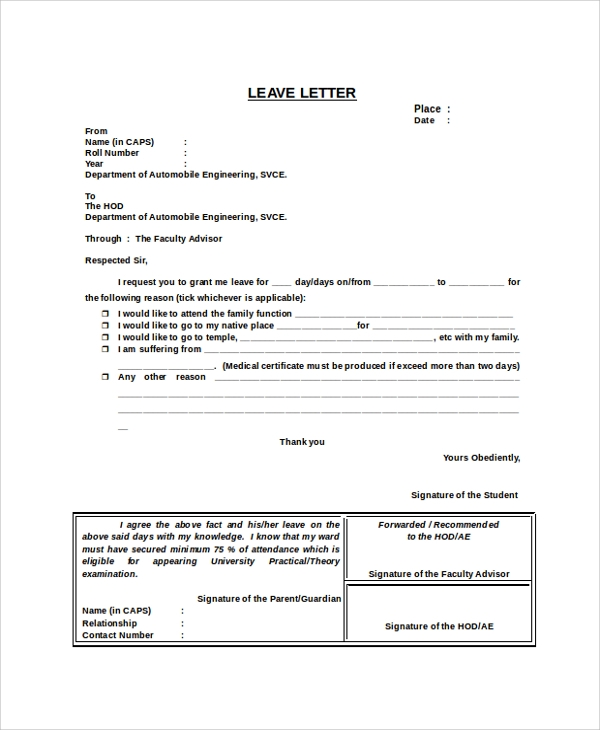 sample leave letter