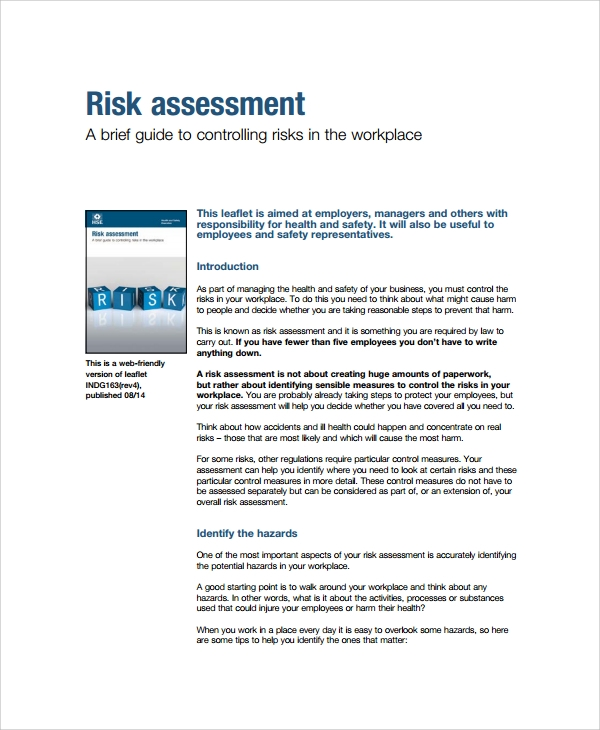 Sample Business Risk Assessment 7 Documents in PDF Word – Business Risk Assessment