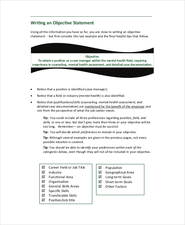 Free 7 Sample Resume Objective Statement Templates In Pdf Ms Word