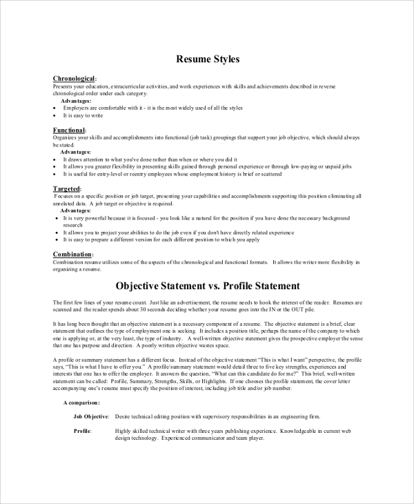 Sample Resume Objective Statement   Documents In Pdf Word